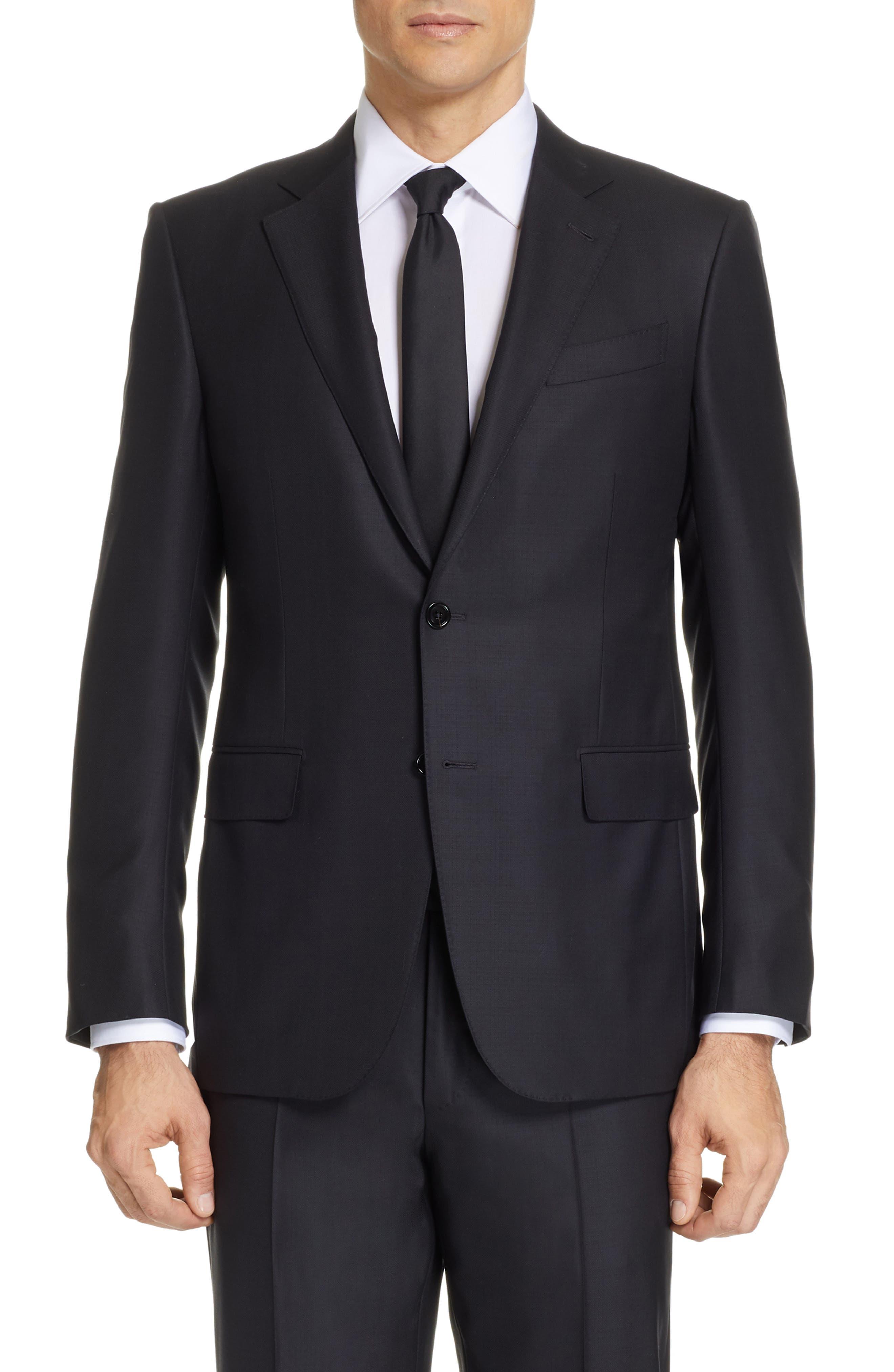 ,                             Classic Fit Plaid Wool Suit,                             Alternate thumbnail 5, color,                             BLACK