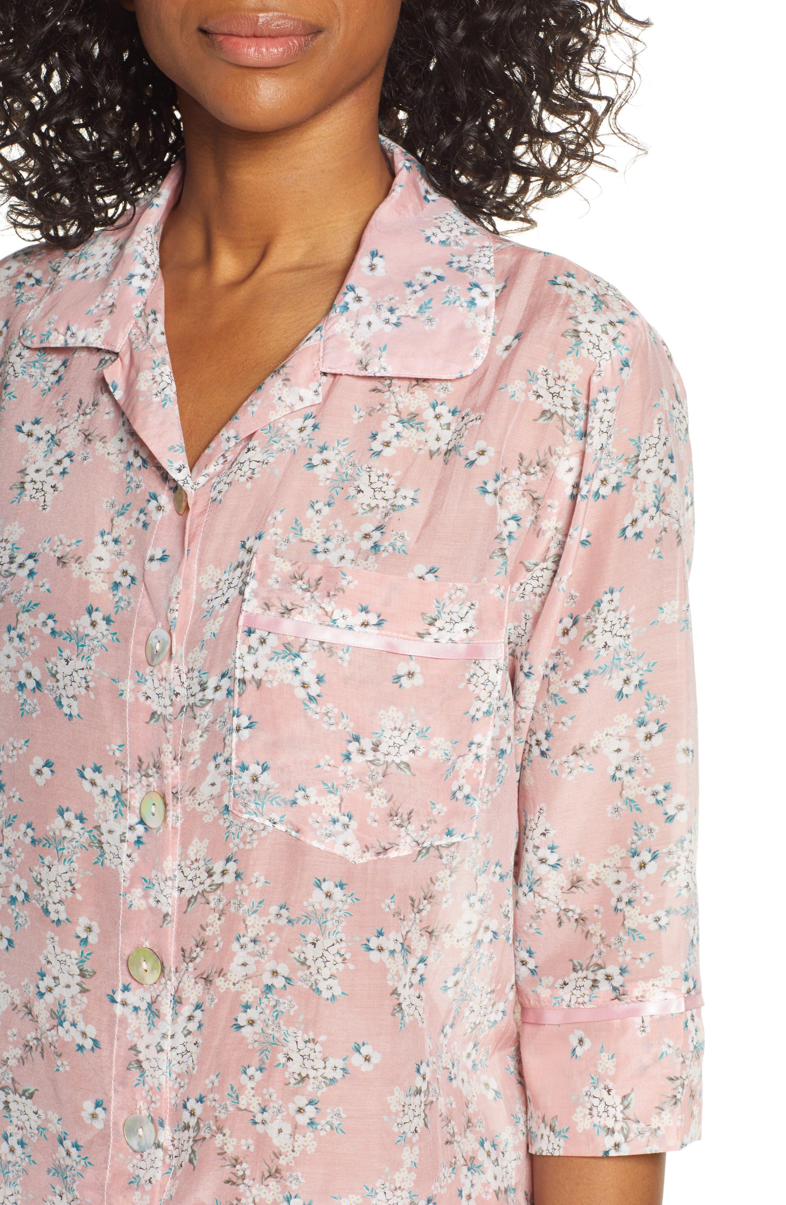 ,                             Isabelle Cotton & Silk Crop Pajamas,                             Alternate thumbnail 4, color,                             DARK PINK