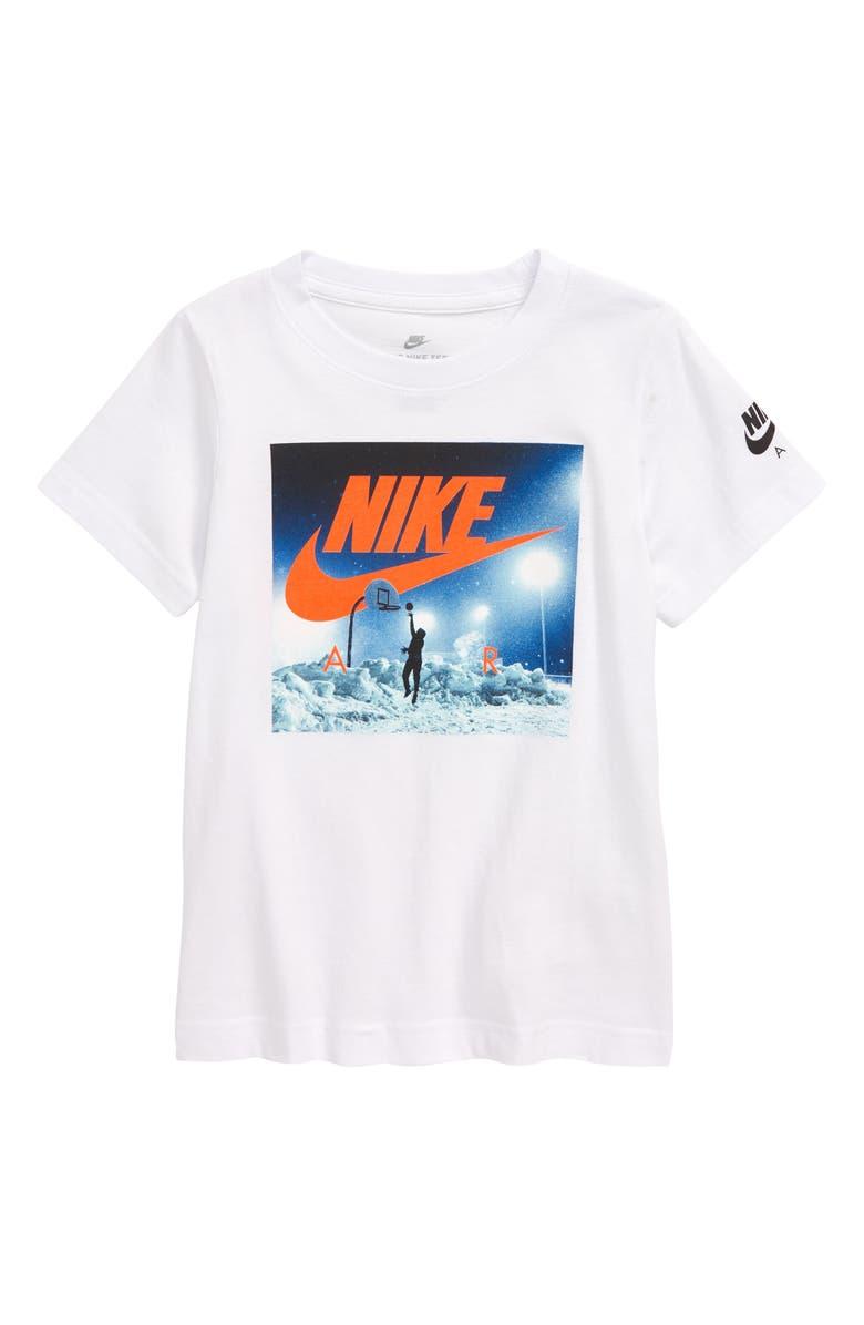 NIKE Air Hoop Screenprint T-Shirt, Main, color, WHITE