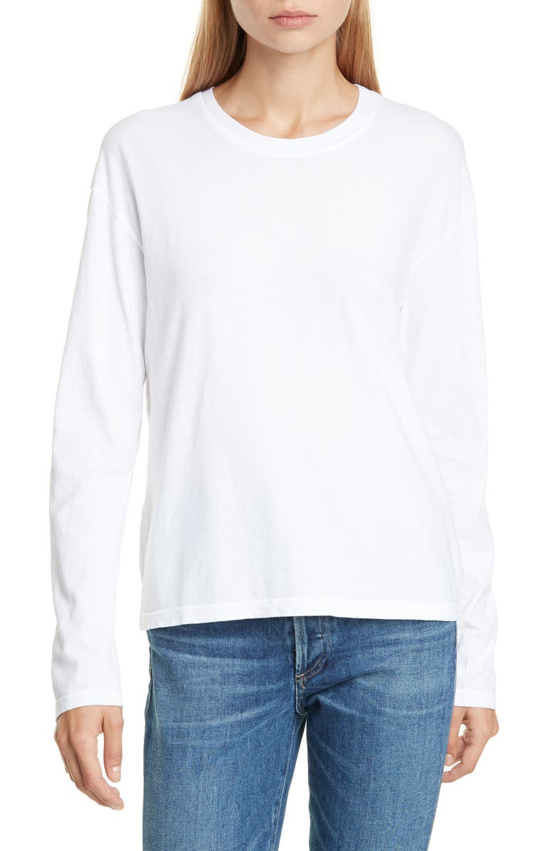 JAMES PERSE Long Sleeve Vintage Boxy Tee, Main, color, WHITE