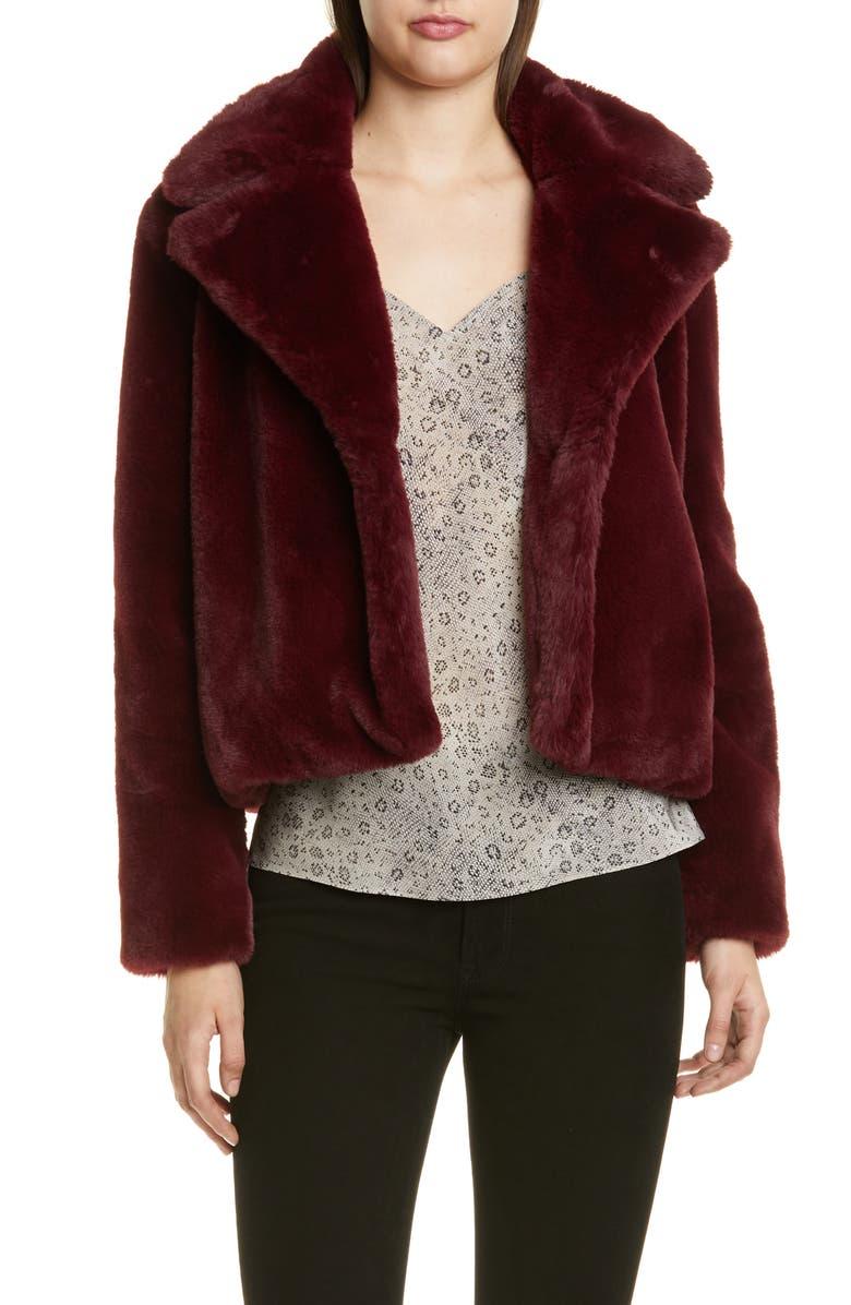 FRAME Short Faux Fur Coat, Main, color, BORDEAUX