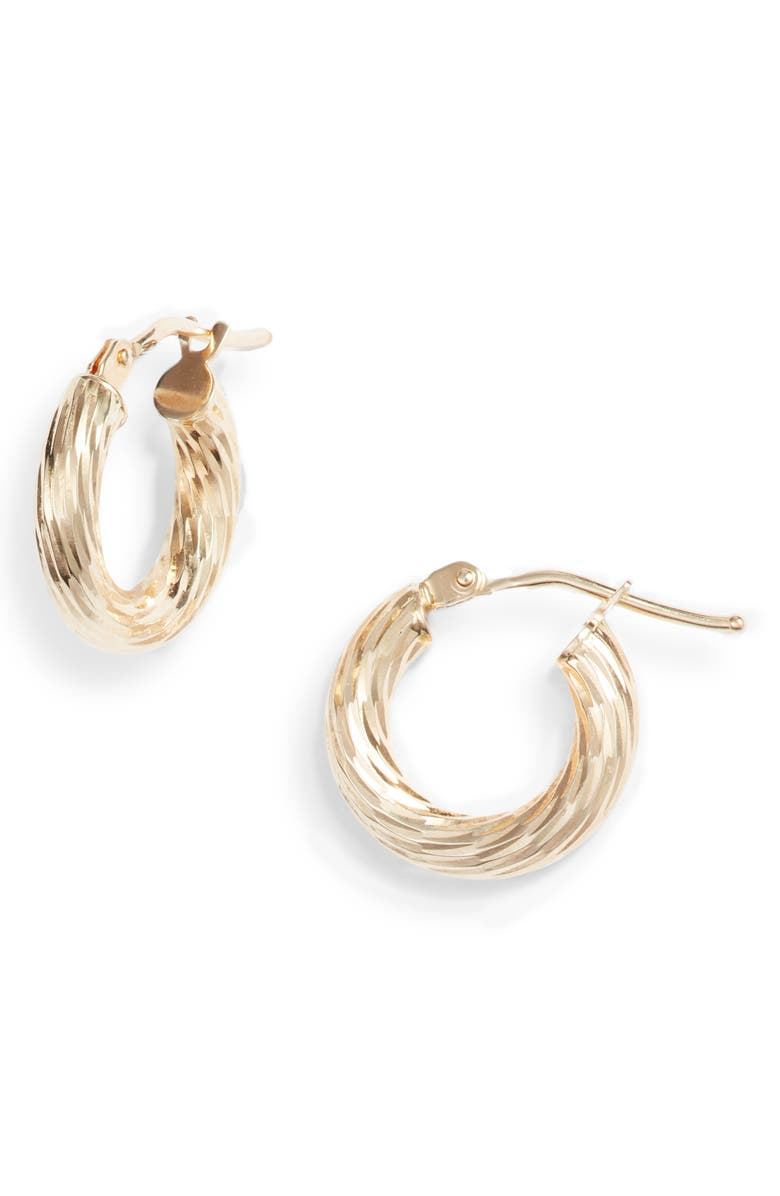 BONY LEVY 14K Gold Small Twisted Rope Hoop Earrings, Main, color, YELLOW GOLD