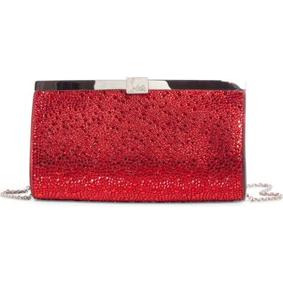 Christian Louboutin Small Palmette Crystal Embellished Clutch - Red