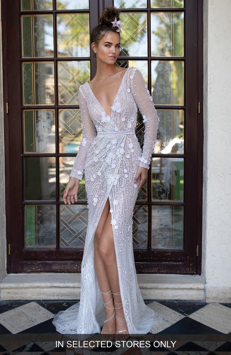 BERTA Beaded Envelope Tulle Wedding Dress, Main, color, 900