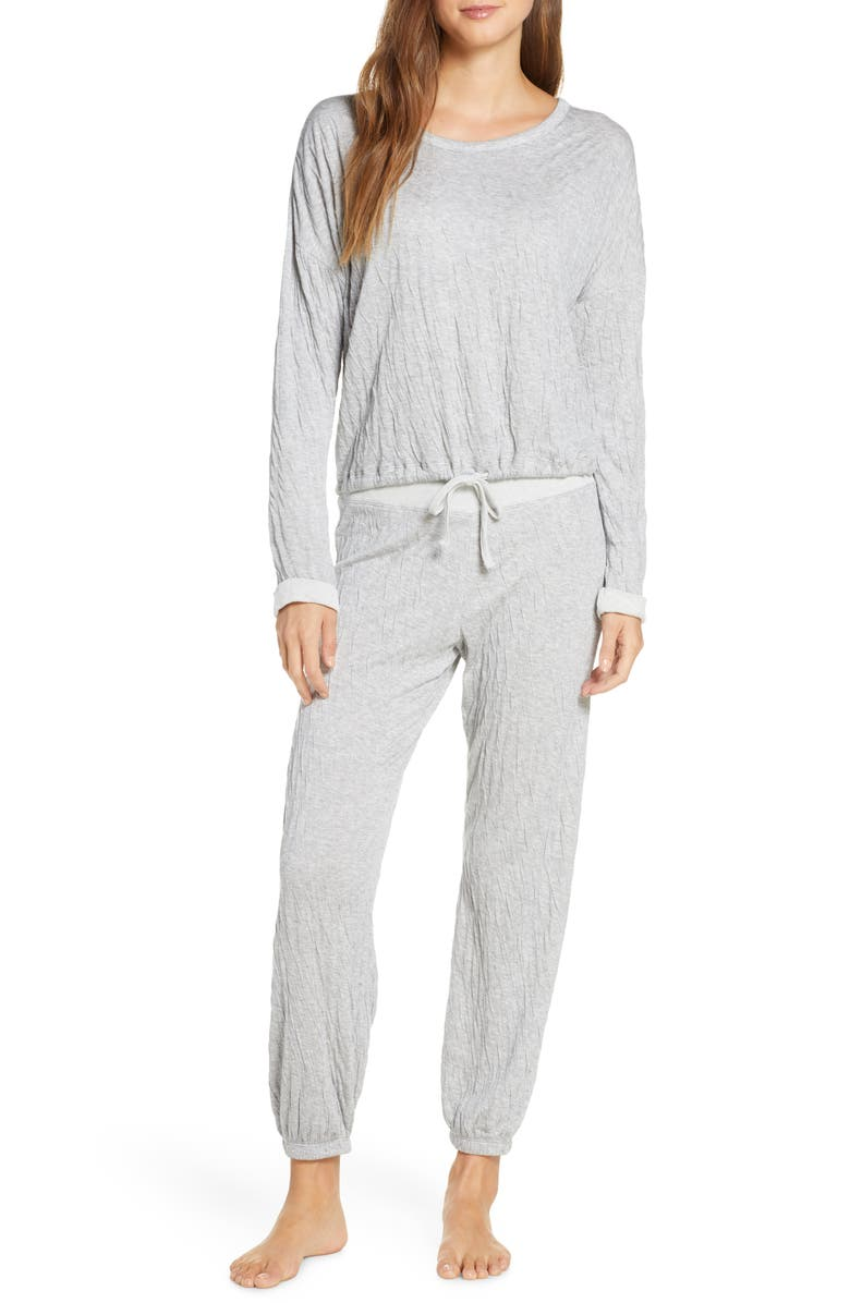 BAREFOOT DREAMS<SUP>®</SUP> Malibu Collection Crinkle Jersey Lounge Set, Main, color, GREY/ CREAM
