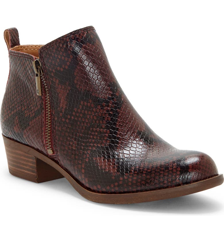 LUCKY BRAND Basel Bootie, Main, color, SUGAR RED LEATHER