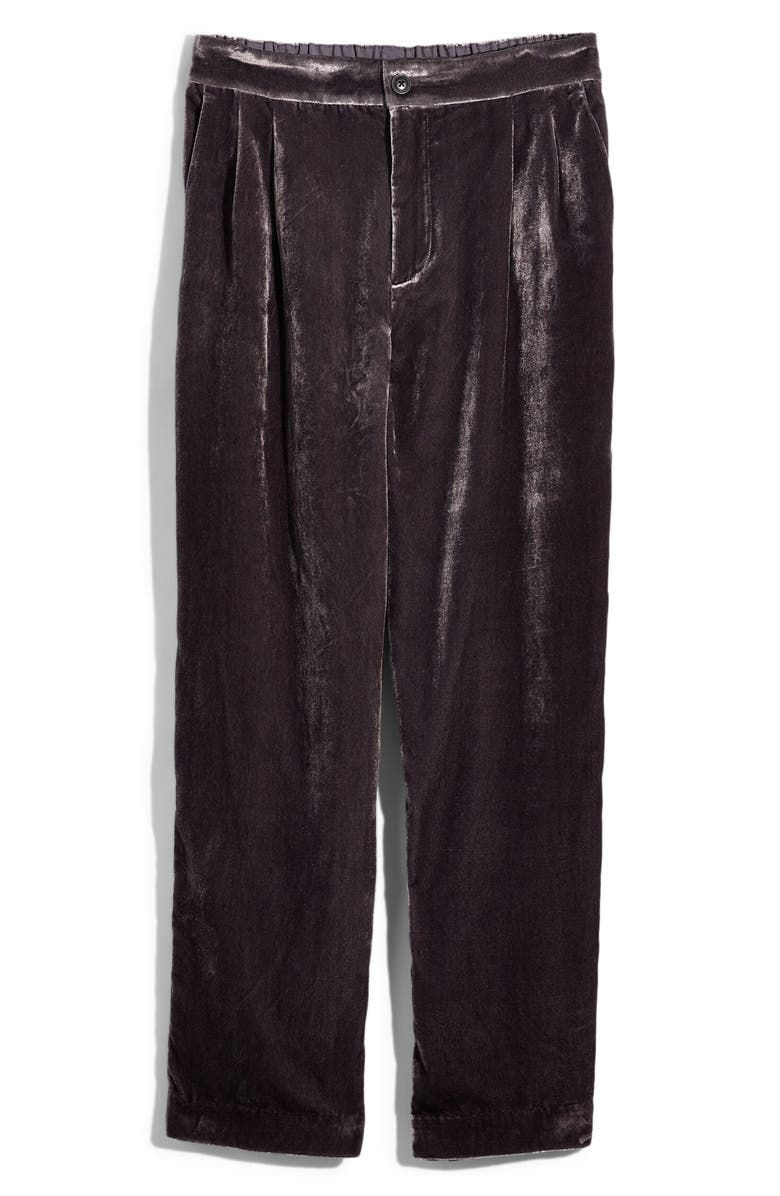 MADEWELL Velvet Tapered Pleat Pull-On Pants, Main, color, 001