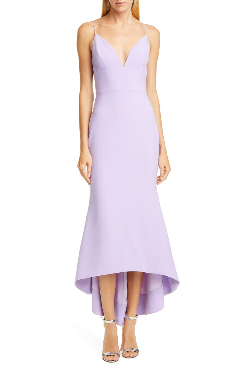 Christian Siriano V Neck High Low Slipdress