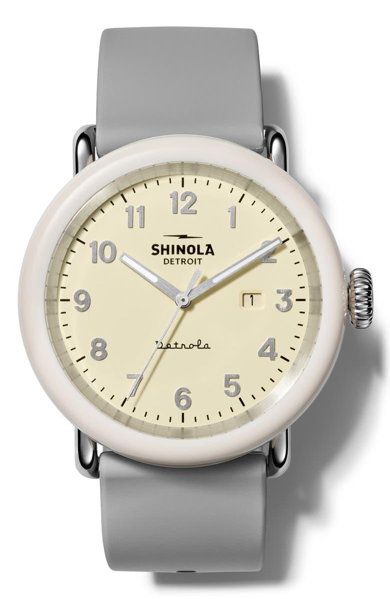 SHINOLA Detrola Silicone Strap Watch, 43mm, Main, color, HEATHER GREY/ CREAM / SILVER