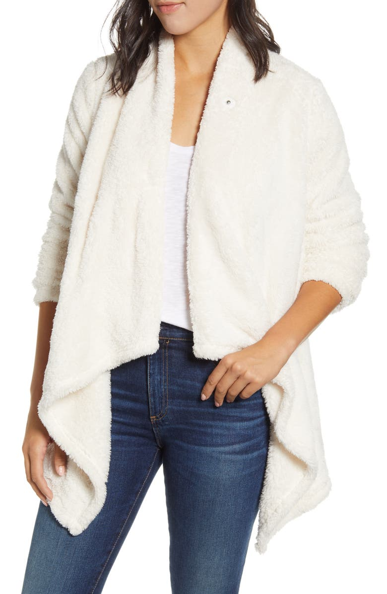 BOBEAU Drape Front Faux Fur Cardigan, Main, color, SUGAR