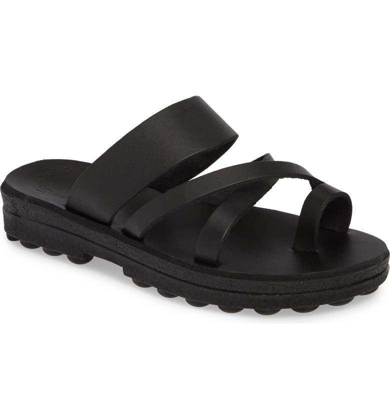 JERUSALEM SANDALS The Good Shepherd Sandal, Main, color, BLACK LEATHER