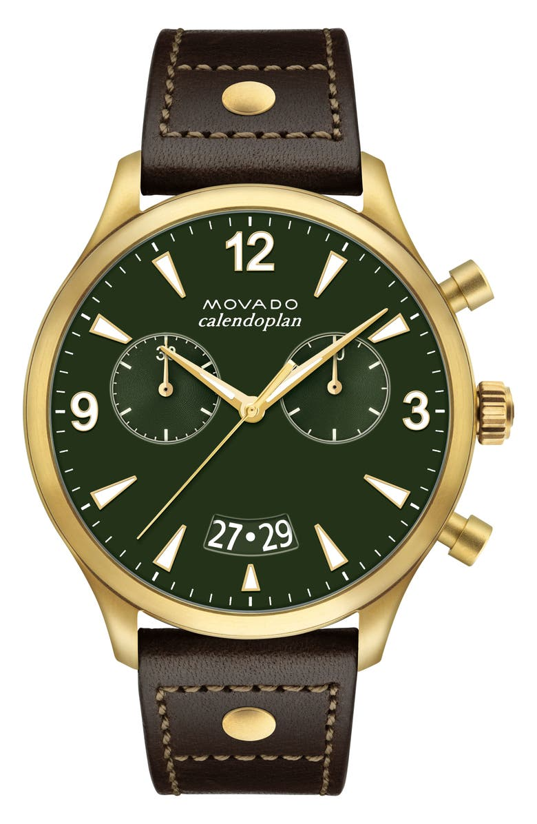 MOVADO Heritage Calendoplan Chronograph Leather Strap Watch, 45mm, Main, color, CHOCOLATE/ GREEN/ GOLD