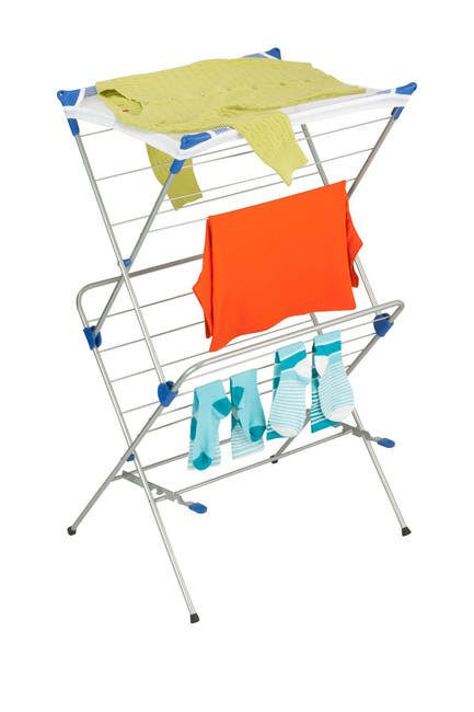 Image of Honey-Can-Do Two Tier Mesh Top Gray/Blue Drying Rack