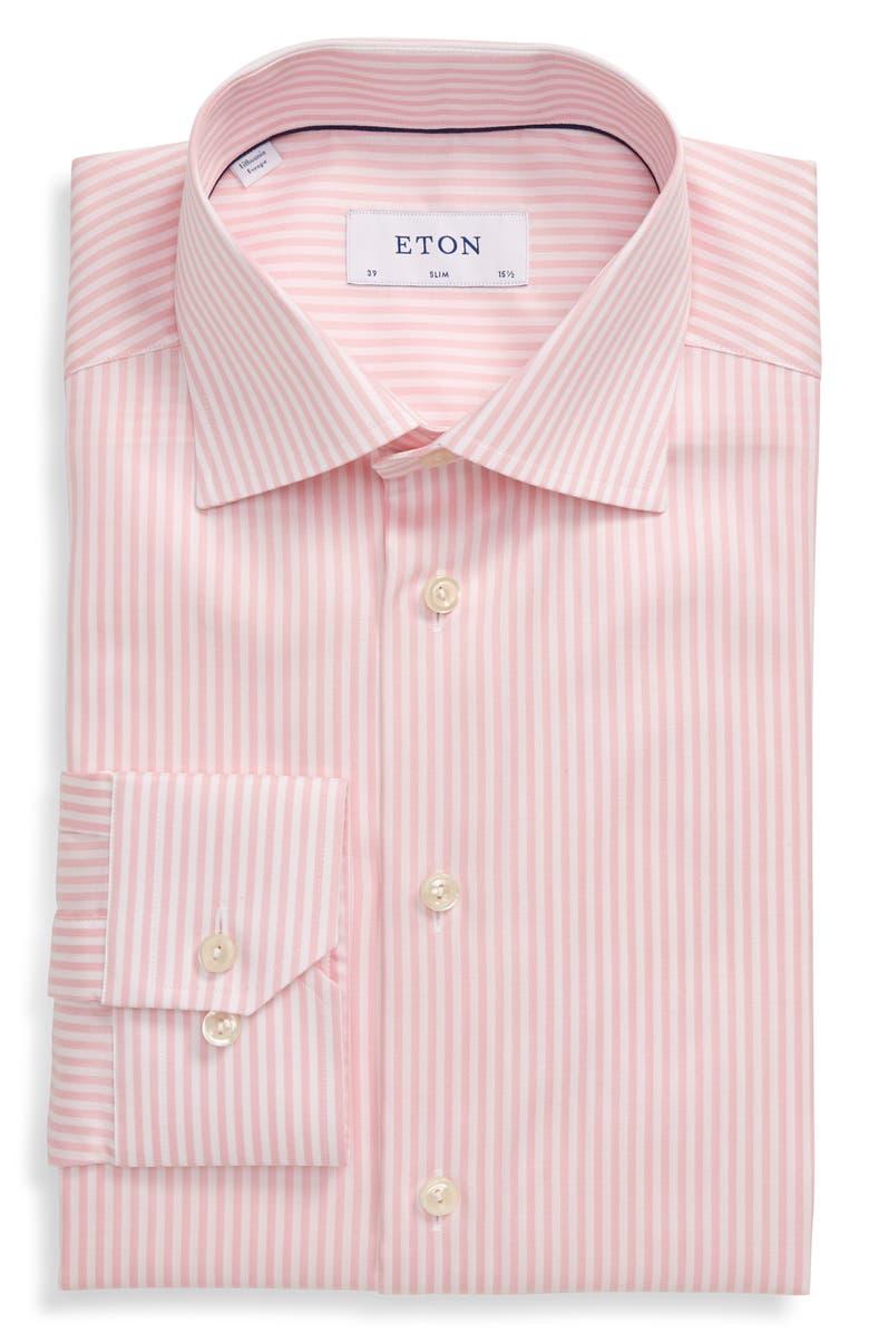 ETON Slim Fit Stripe Dress Shirt, Main, color, PINK