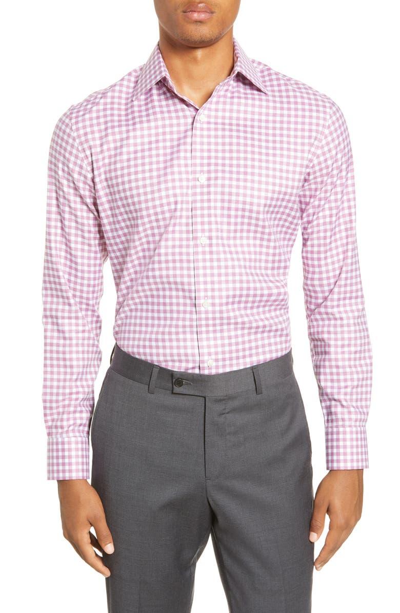 BONOBOS Trim Fit Check Dress Shirt, Main, color, TEXTURE ROUGE