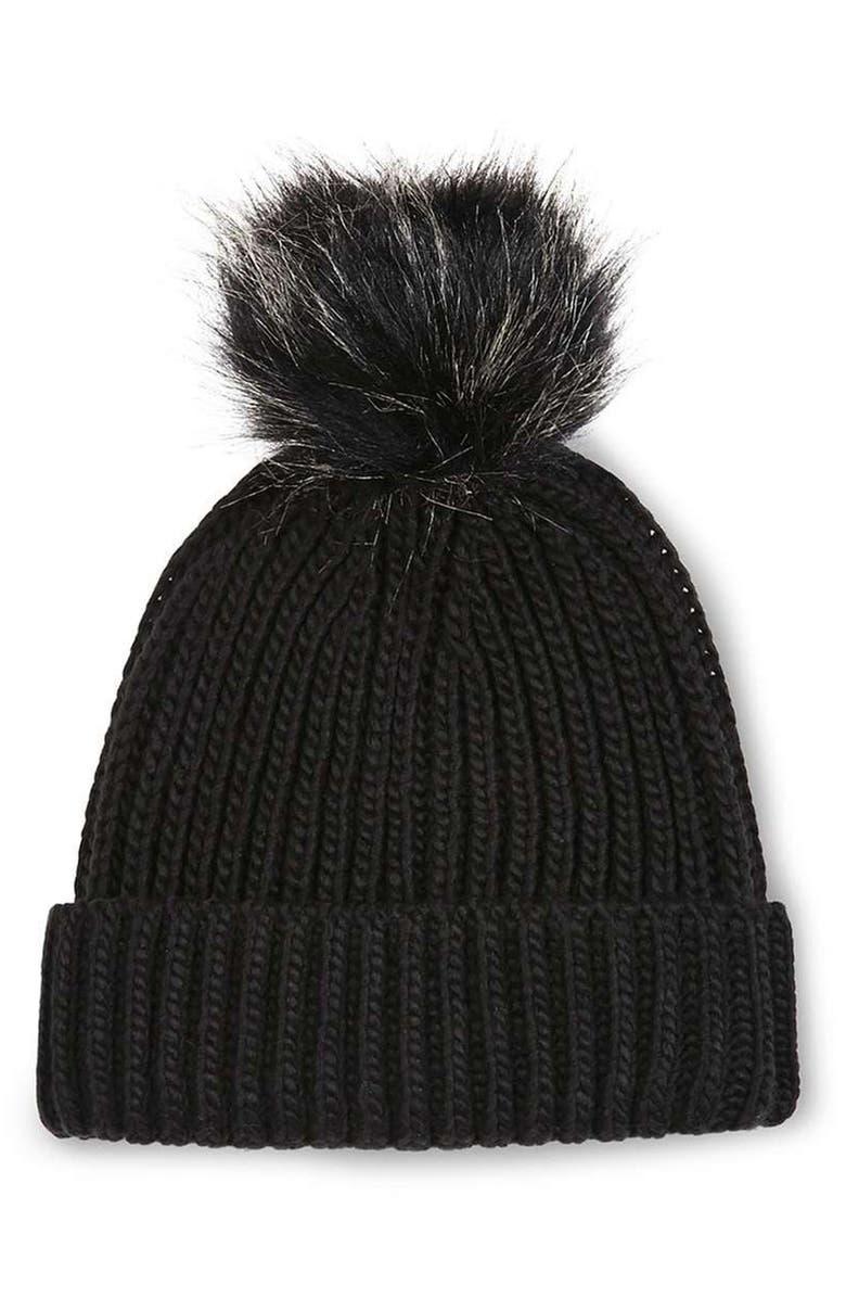 TOPSHOP Tipped Faux Fur Pom Beanie, Main, color, 001