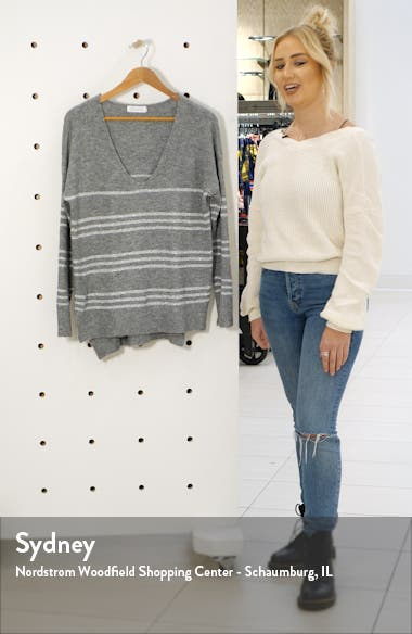 Metallic Stripe V-Neck Tunic Sweater, sales video thumbnail