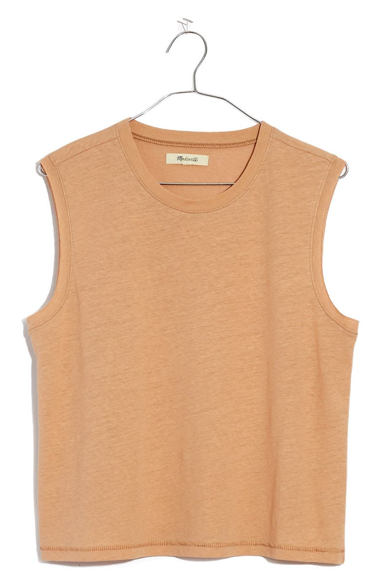 MADEWELL Raw Edge Hangout Muscle Tank, Main, color, SANDSTONE