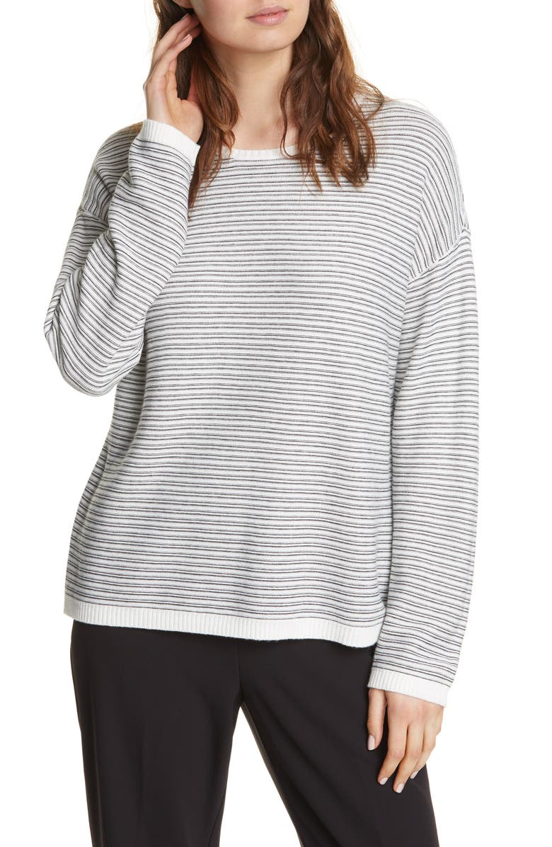 EILEEN FISHER Crewneck Organic Cotton Blend Sweater, Main, color, SOFTWHITE/ BLACK