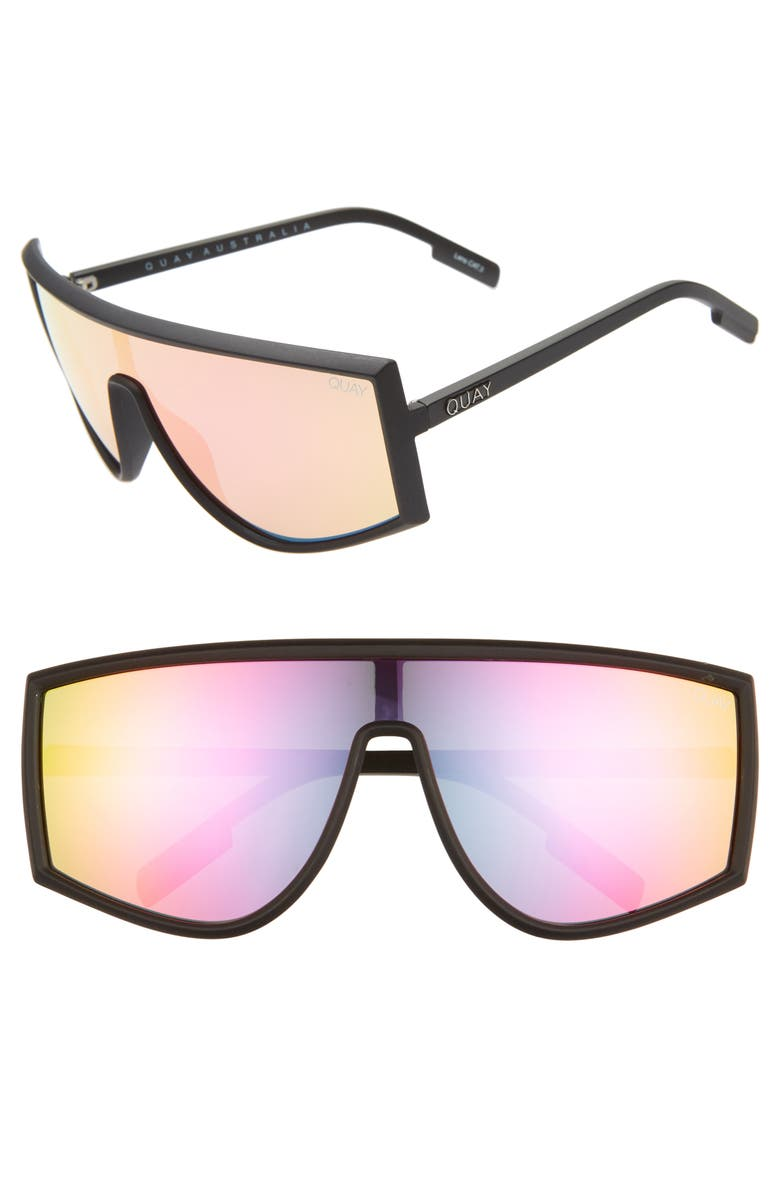 QUAY AUSTRALIA Cosmic 140mm Shield Sunglasses, Main, color, 001