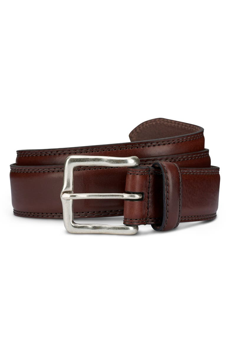 ALLEN EDMONDS Wide Street Leather Belt, Main, color, CHILI