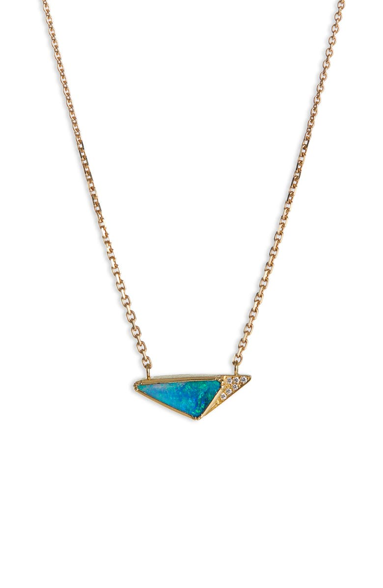BROOKE GREGSON Geo Halo Boulder Opal Necklace, Main, color, GOLD