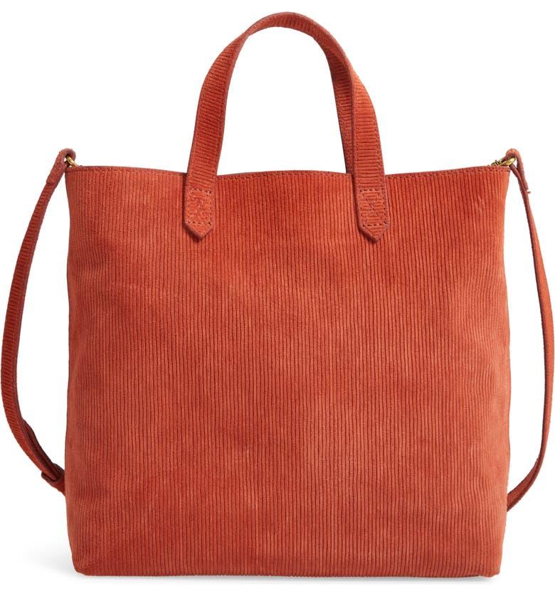 MADEWELL The Zip-Top Transport Corduroy Suede Crossbody Bag, Main, color, RUSSET