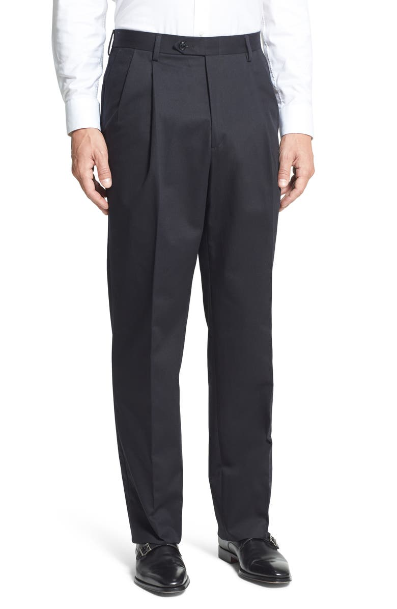 BERLE Pleated Classic Fit Cotton Dress Pants, Main, color, BLACK