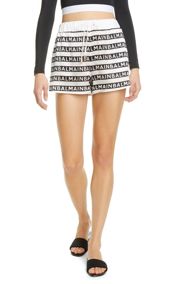BALMAIN Logo Stripe Silk Cover-Up Shorts, Main, color, WHITE/ WHITE