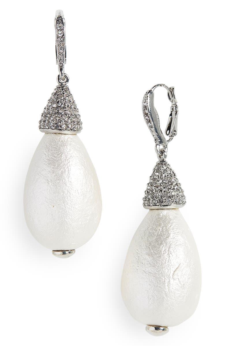 OSCAR DE LA RENTA Imitation Pearl Drop Earrings, Main, color, PEARL