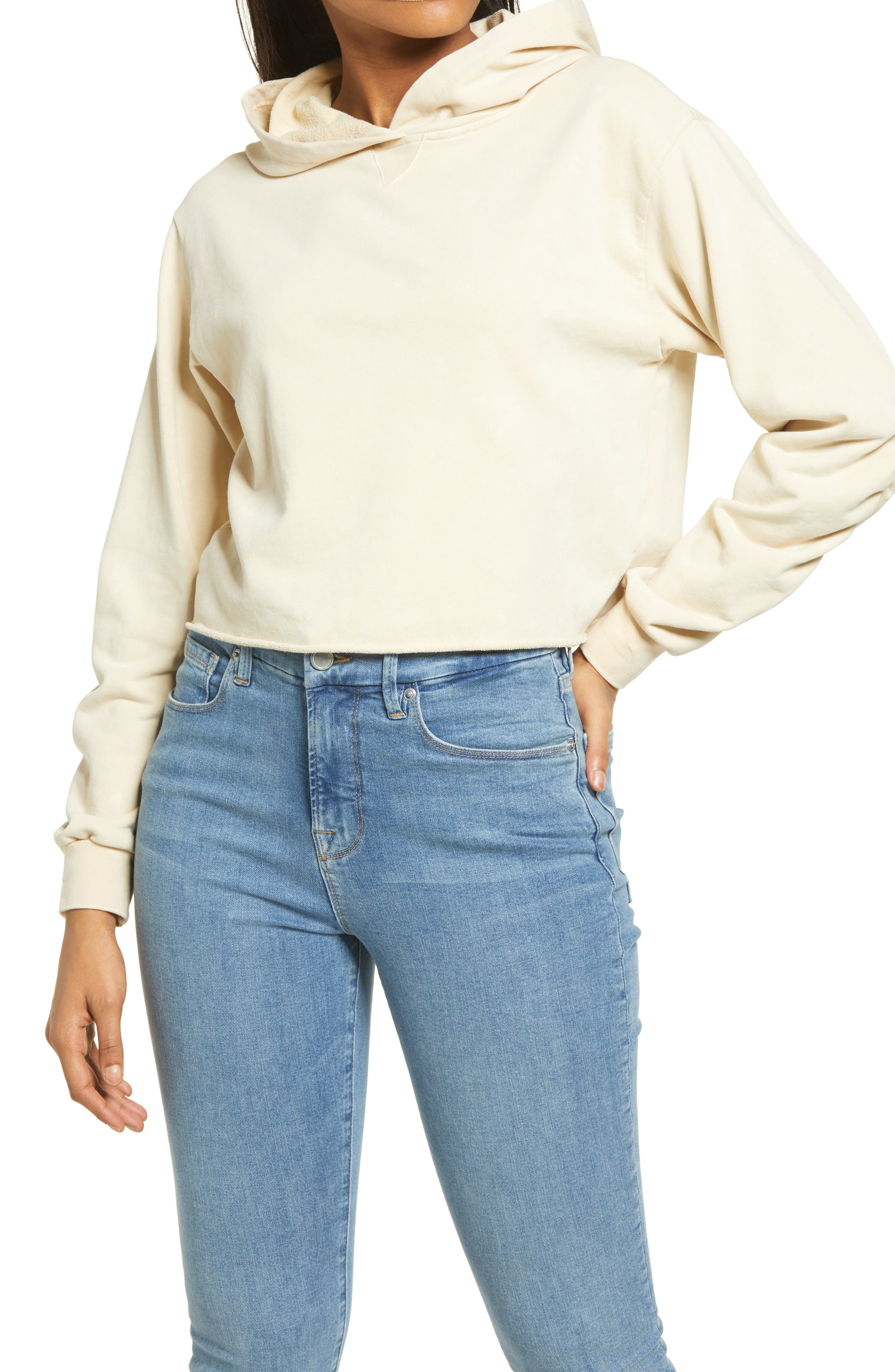 Women's Kendall + Kylie Ruched Sleeve Crop Hoodie