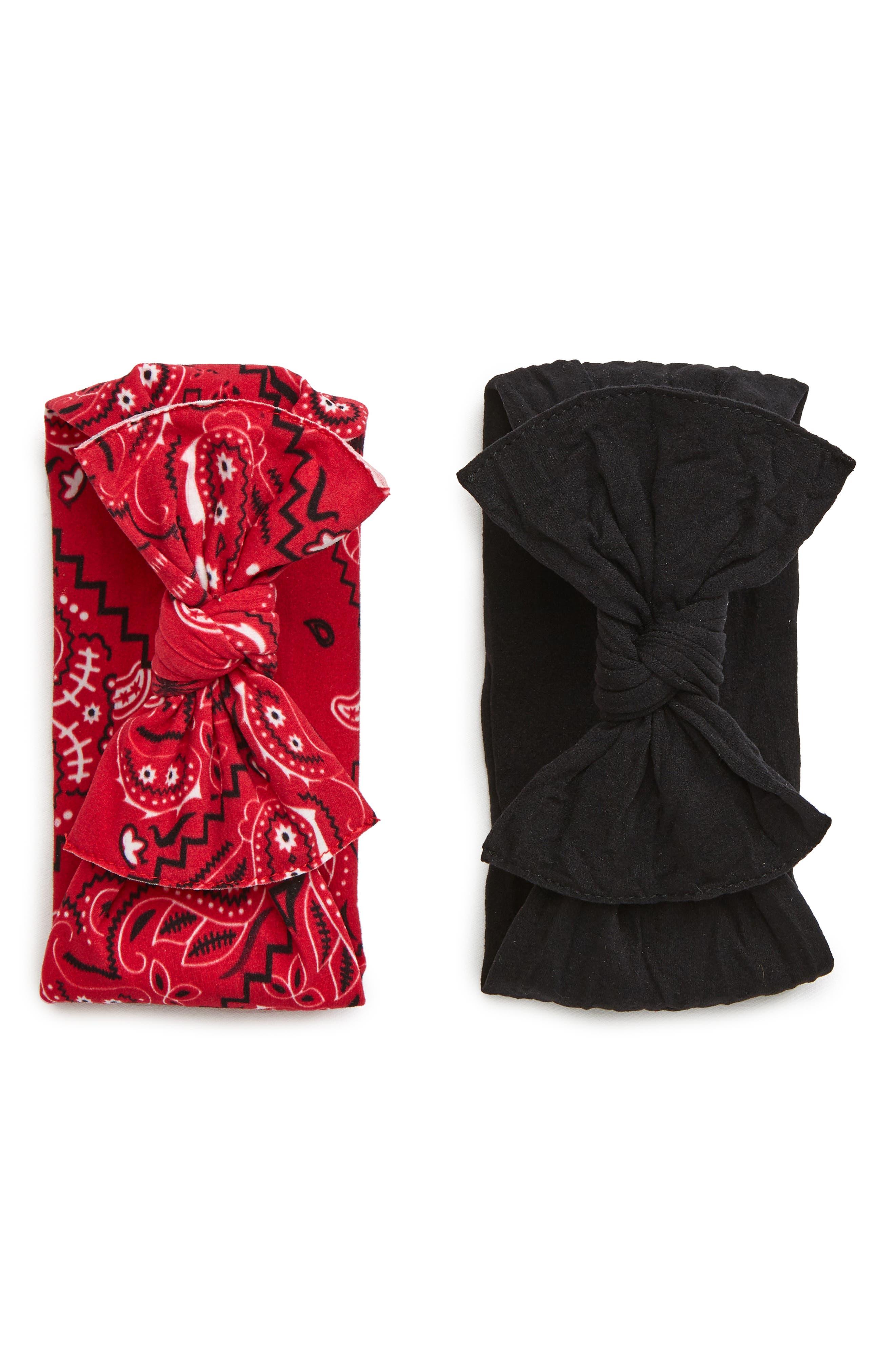 ,                             2-Pack Knotted Headbands,                             Main thumbnail 1, color,                             CHERRY BANDANA/ BLACK