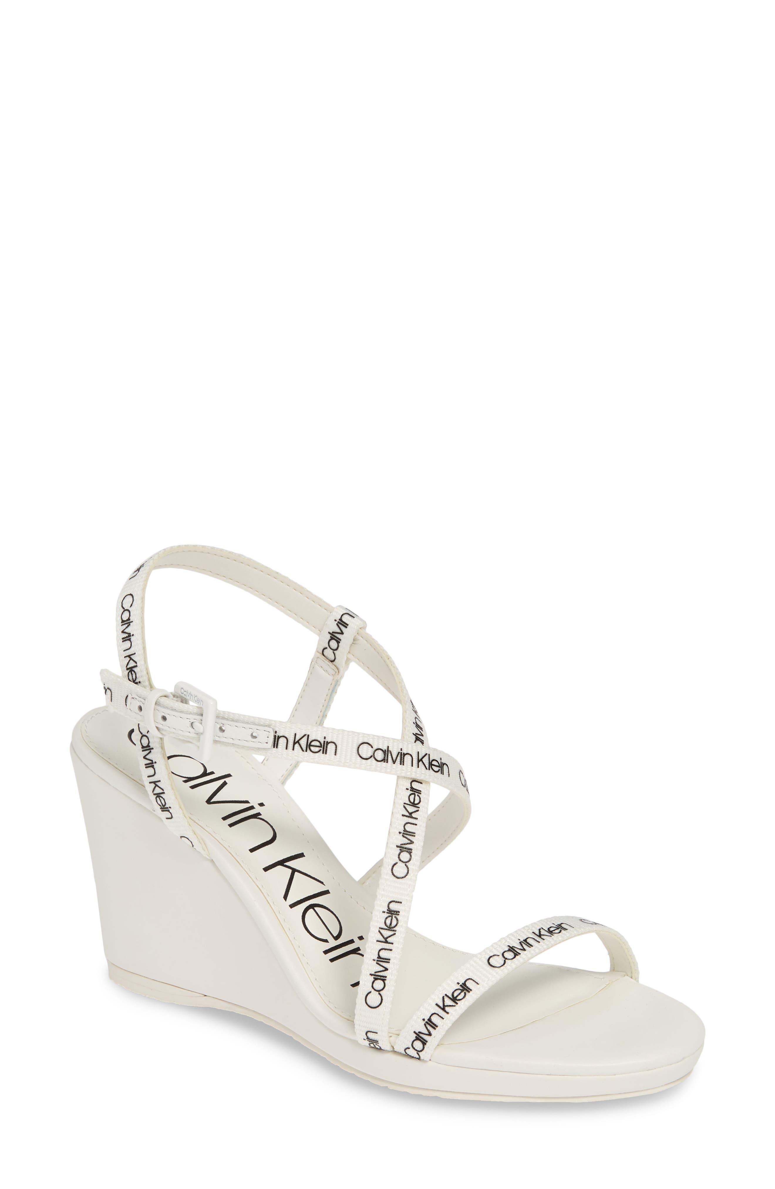 Calvin Klein Bellemine Slingback Wedge Sandal, White