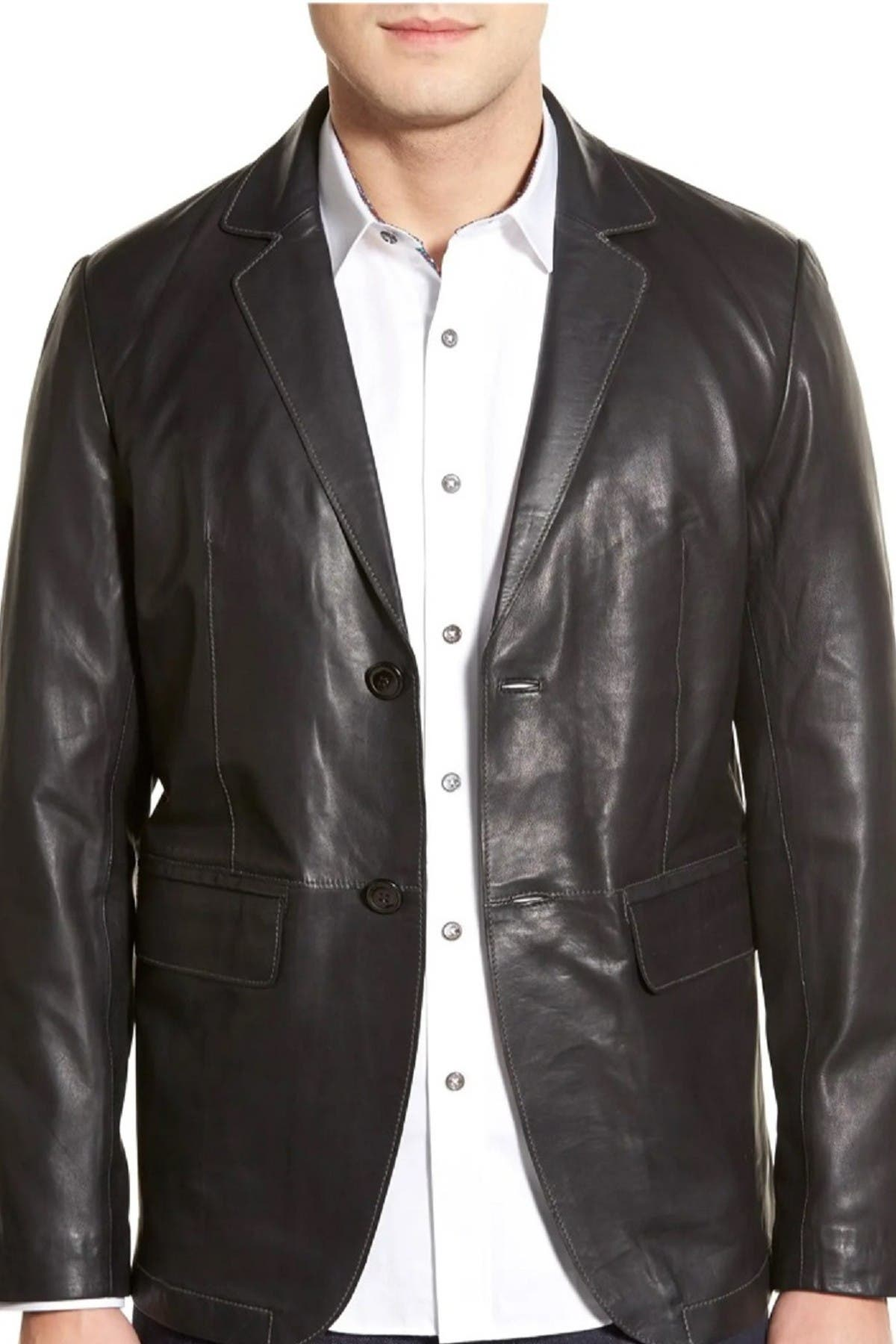 Image of Missani Le Collezioni Lambskin Leather Sport Coat