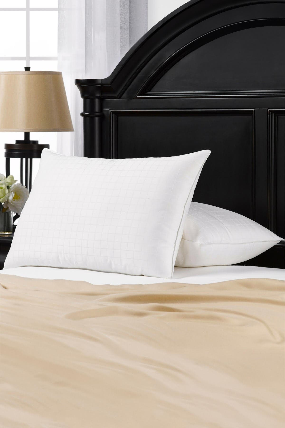 """Image of Ella Jayne Home Soft Gel Filled Cotton Dobby Windowpane Shell Stomach Sleeper Queen Pillow - Set of 2 - 20""""x30"""""""