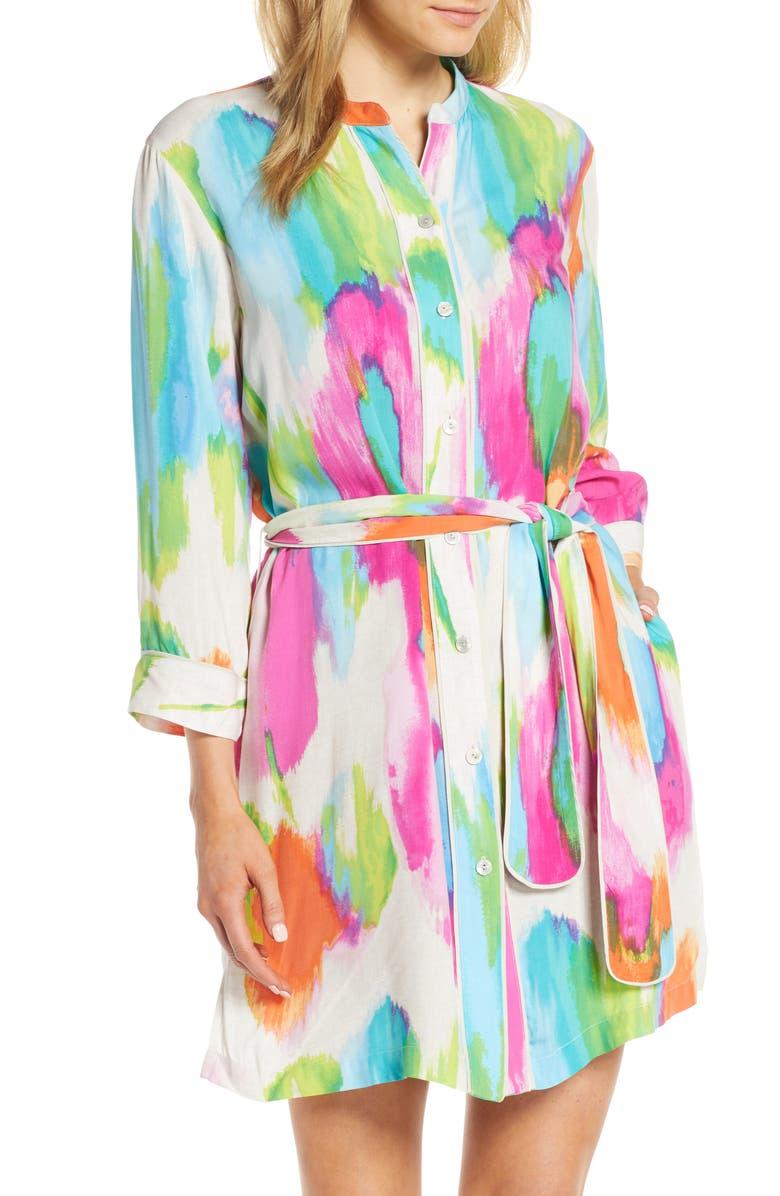 NATORI Aurora Shirtdress, Main, color, MLT BEET/ LNN WHT