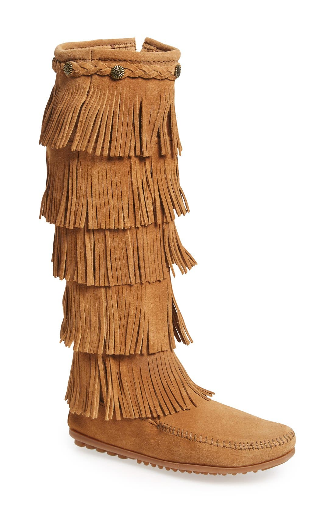 Vintage Boots, Granny Boots, Retro Boots Womens Minnetonka 5 Layer Fringe Boot Size 5 M - Brown $99.95 AT vintagedancer.com