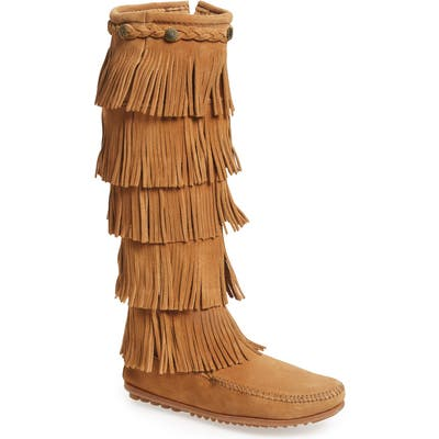 Minnetonka 1659 Five Layer Fringe Boot, Brown