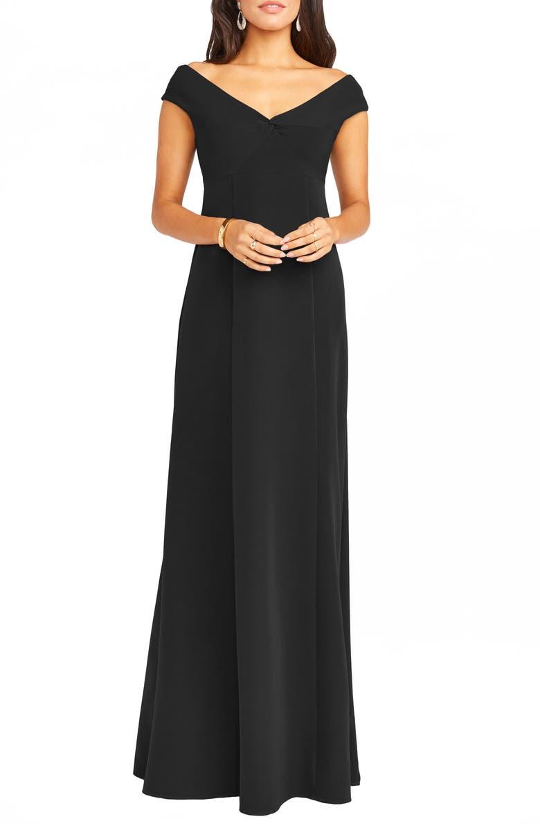SHOW ME YOUR MUMU Zurich Front Knot Gown, Main, color, BLACK STRETCH CREPE