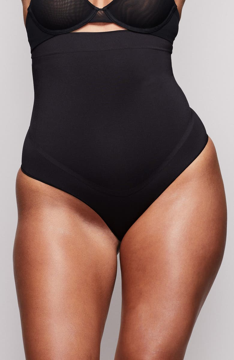 SKIMS High Waist Bonded Thong, Main, color, ONYX