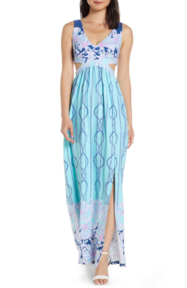 224f5fa472 Marcia Cutout Maxi Dress, Main, color, LIGHT AQUA FRAYED KNOT DRESS