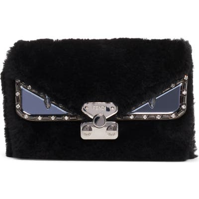 Fendi Small Bag Bug Genuine Shearling Crossbody Bag - Black