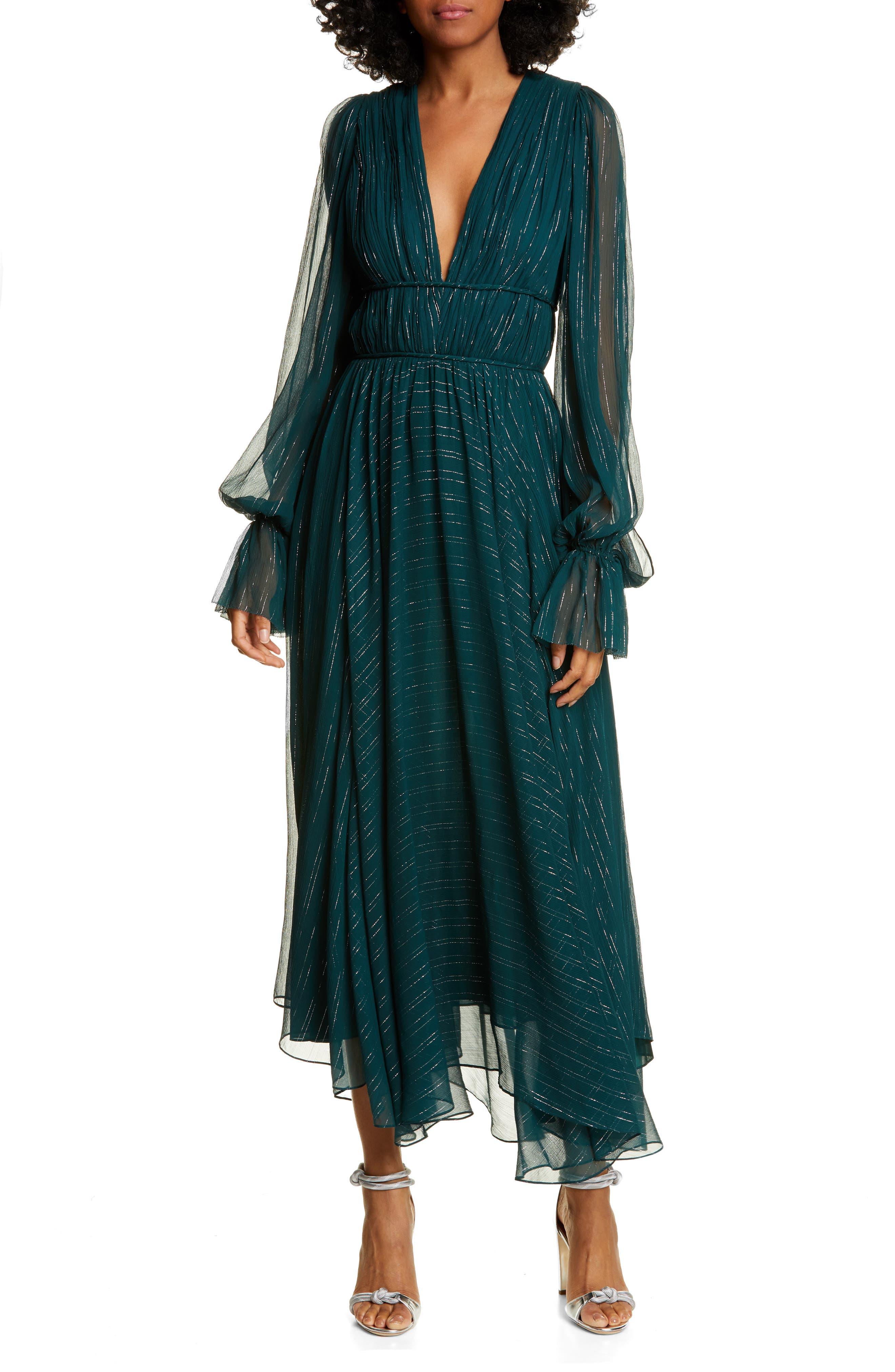 AMUR Heidi Metallic Stripe Long Sleeve Silk Blend Dress   Nordstrom