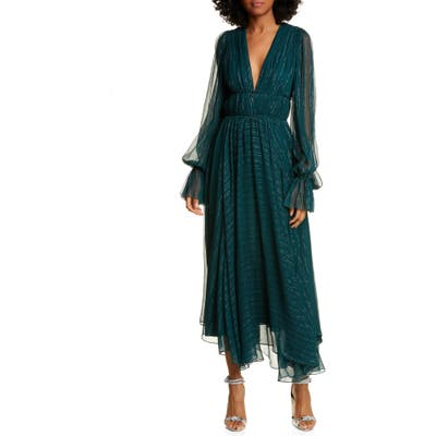 Amur Heidi Metallic Stripe Long Sleeve Silk Blend Dress, Green