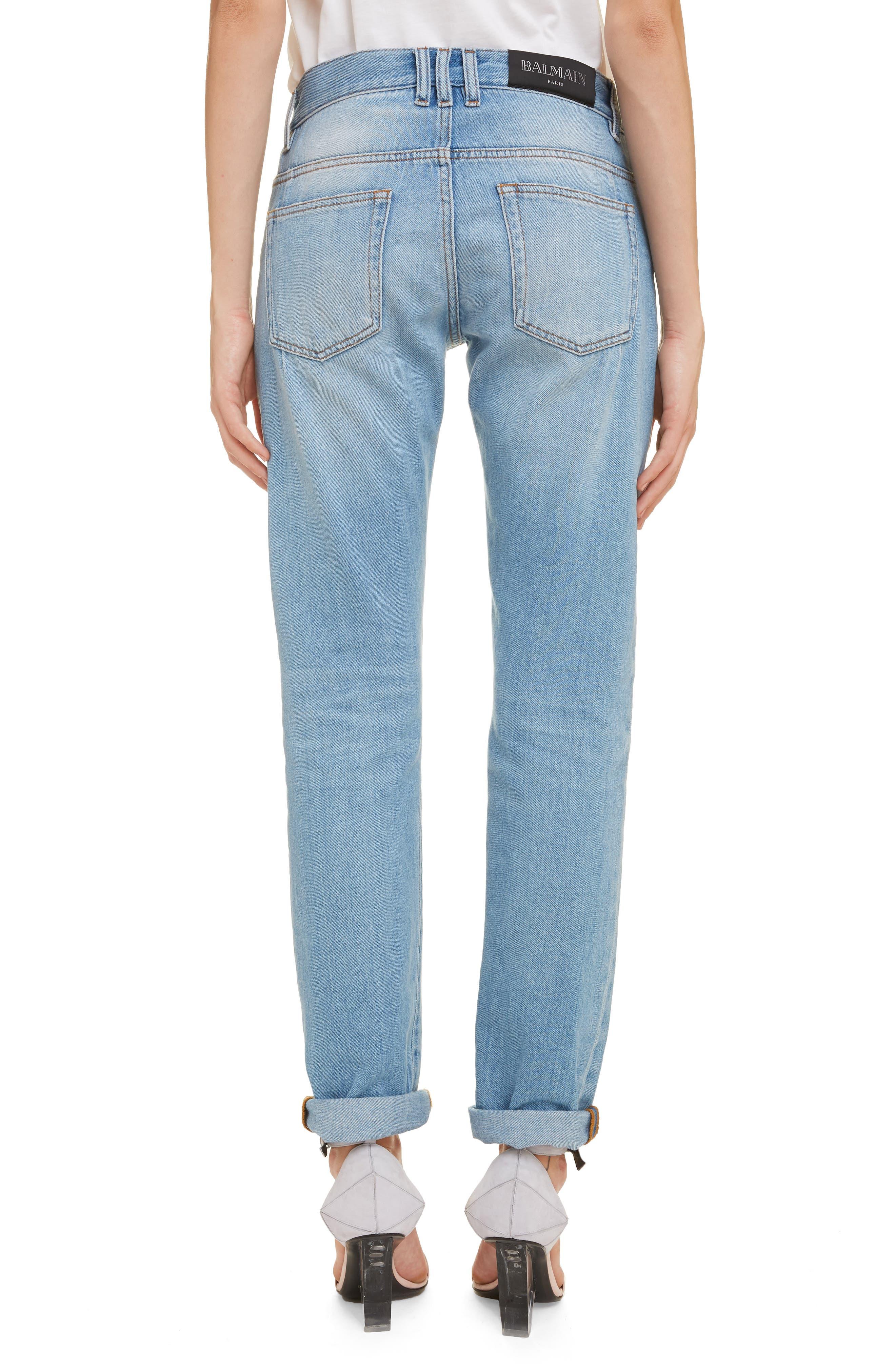 ,                             Straight Fit Jeans,                             Alternate thumbnail 2, color,                             BLEU JEAN