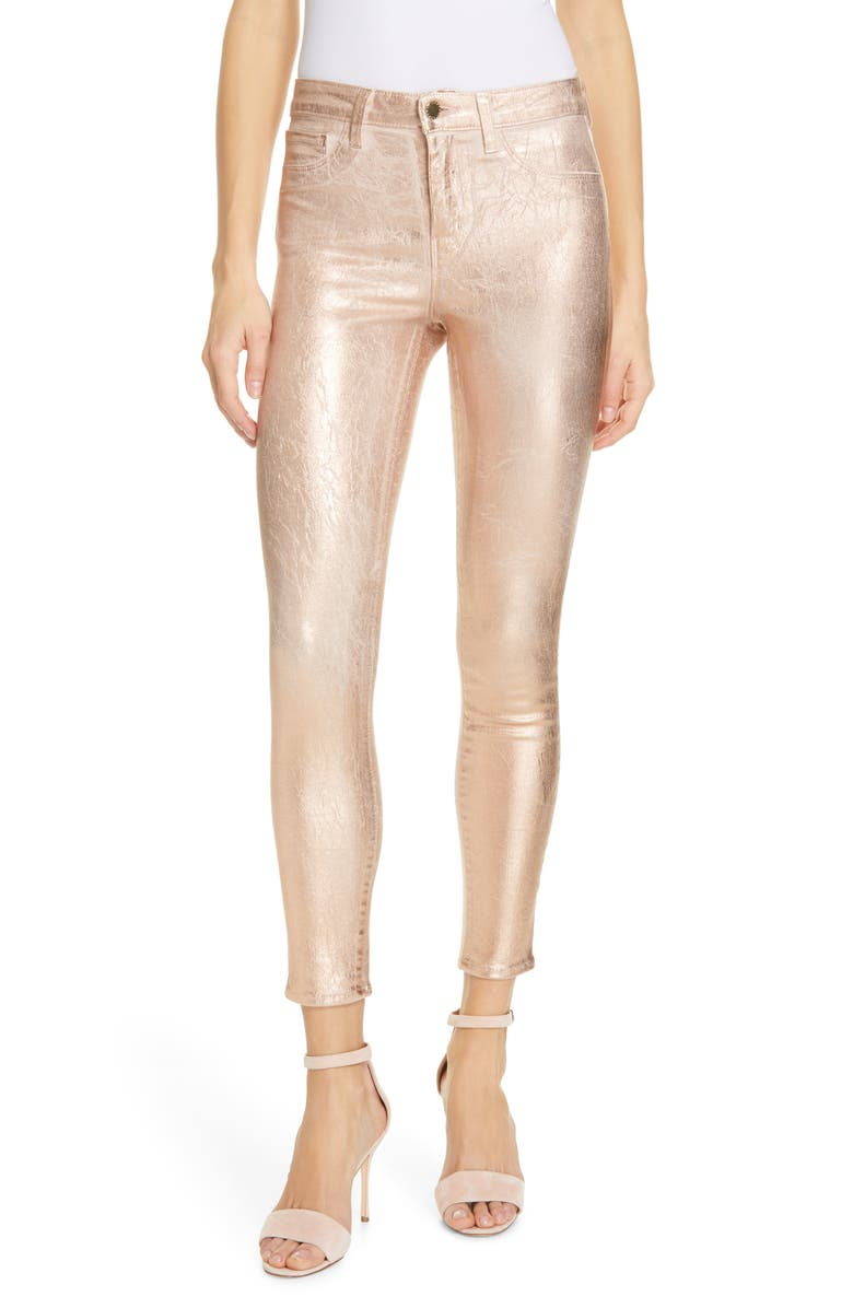 L'AGENCE Margot Metallic Coated Crop Skinny Jeans, Main, color, PETAL / LIGHT ROSE GOLD FOIL