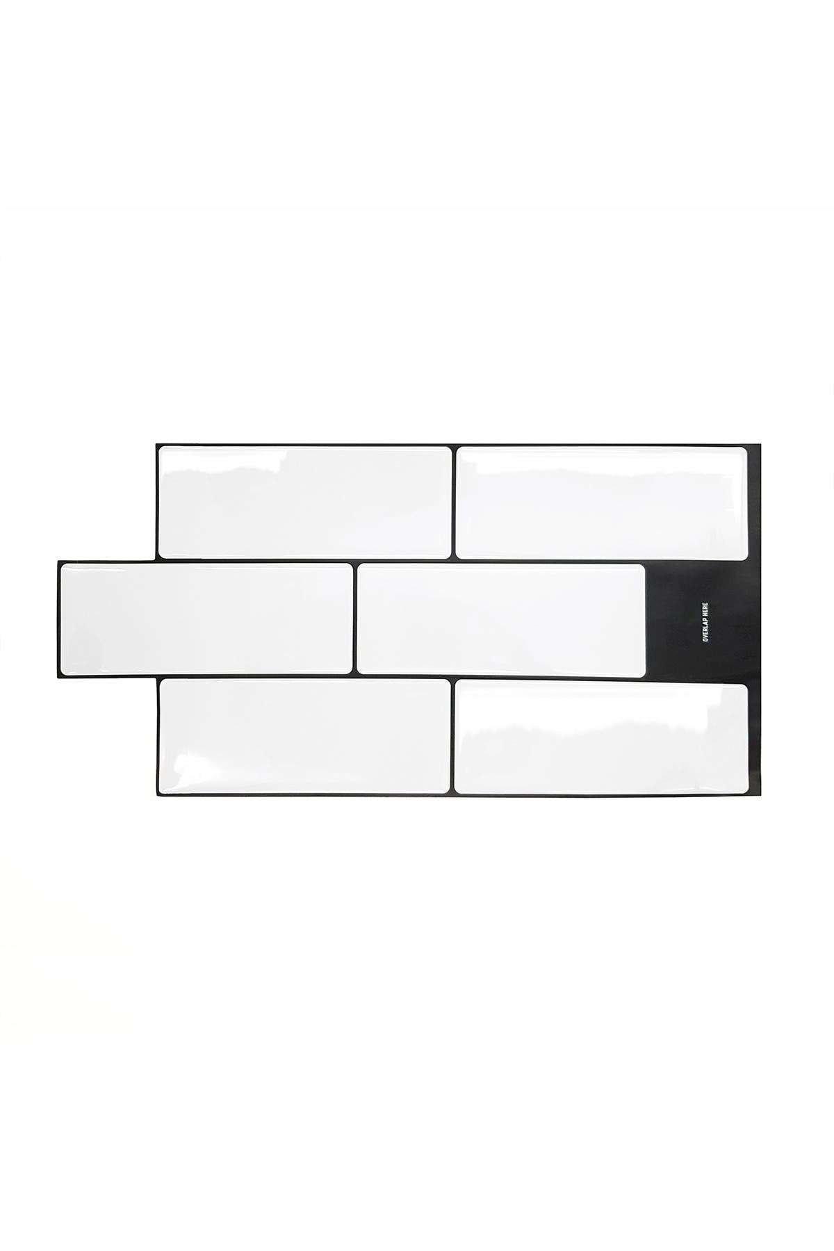 """Image of WalPlus London Minimalist Brilliant White Glossy 3D Tile Stickers - 30cm x 15cm (11.8"""" x 6"""") - 12-Piece in a pack"""