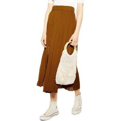 Topshop Double Slit Pleated Satin Midi Skirt, US (fits like 14) - Brown