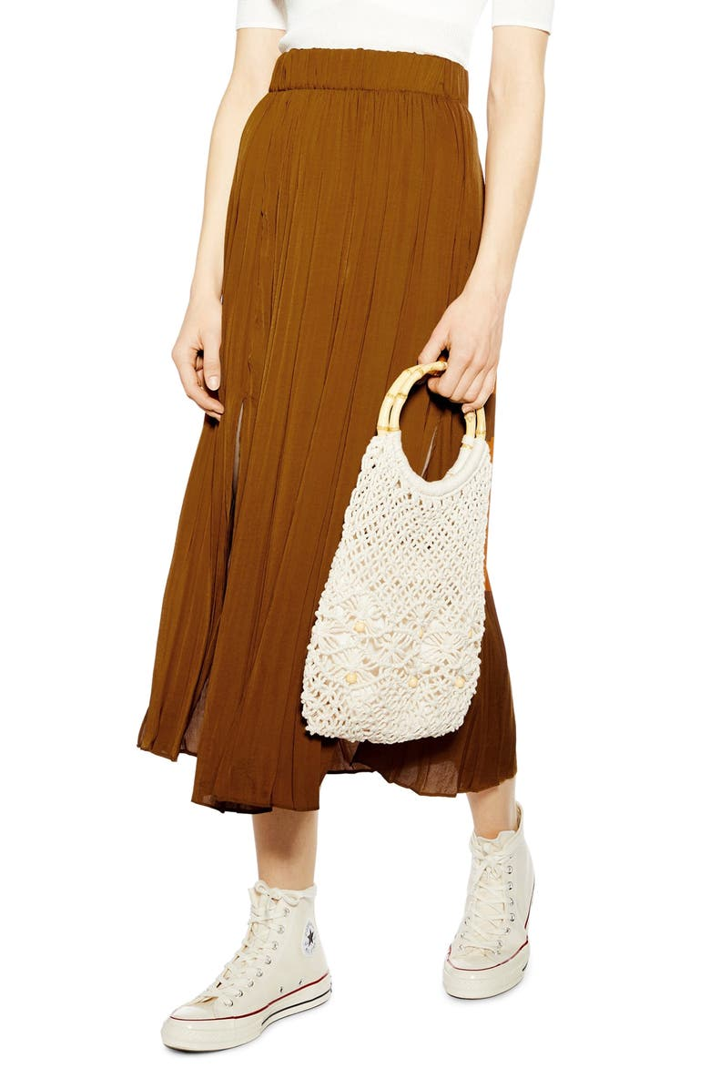 TOPSHOP Double Slit Pleated Satin Midi Skirt, Main, color, TAN