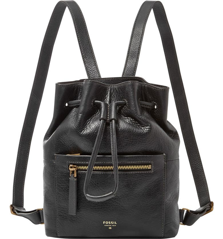 FOSSIL 'Vickery' Drawstring Leather Backpack, Main, color, 001